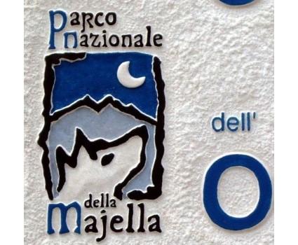 insegna in pietra della Majella per parco nazionale della Majella