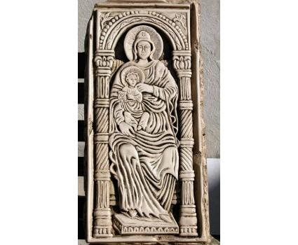 Madonna con bambino,riproduzione su pietra della Maiella di icona russa